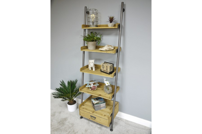 Wooden Ladder Industrial Style Shelve Unit With Drawers
