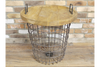 Wooden Top Storage Metal Basket Table