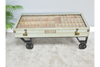 Green Rustic Distressed Glass Top Coffee Table