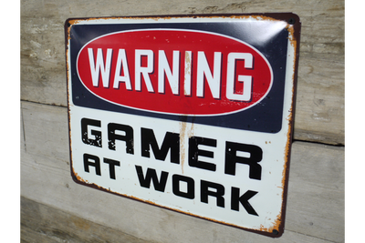Rustic Vintage Metal Sign Gamer At Work