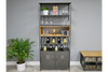Retro Fir Wood & Metal Industrial Wine Cabinet