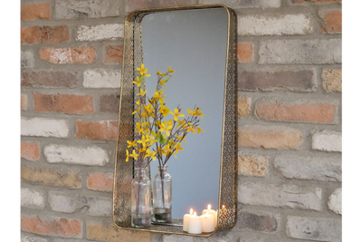 Beautiful Golden Carriage Mirror With Shelf