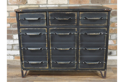 Unique Office 12 Drawer Black Metal Industrial Cabinet