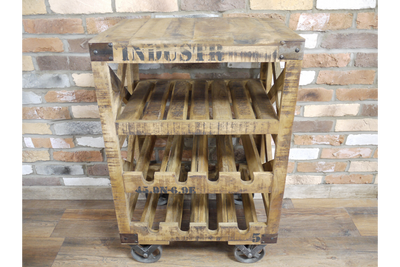 Industrial Wine Trolley on Wheels