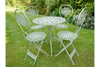 T44 Round Antique Green Garden 4 Set Table-Chair Set