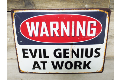 Metal Cast Iron Wall Mounted Sign Evil Genius