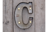 Galvanised Rustic Wall Mounted Classic LED Light Fairground Letter (C)