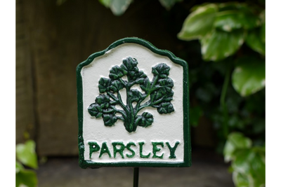 Outdoor Cast Iron Garden Decorative Herb Sign Parsley Ornate
