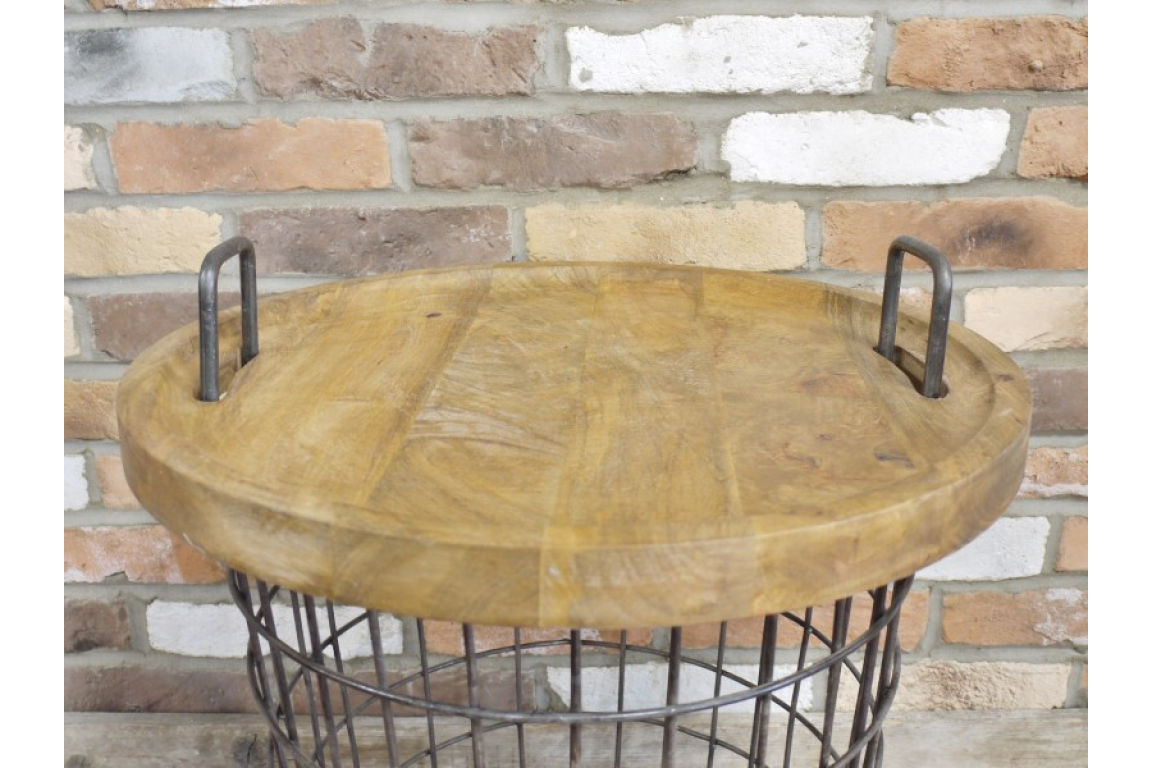 Picture of: Wooden Top Storage Metal Basket Table House Proud Online