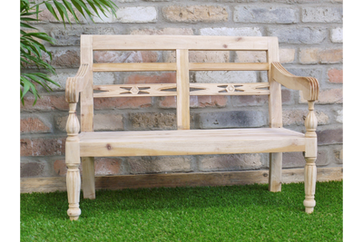Traditional Simple Mahogany Wooden Outdoor Bench