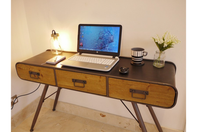 3 Drawer Handmade Industrial Official Desk