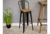 Elm Wooden Powder Coated steel Bar Stool