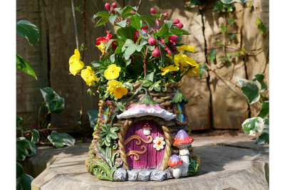 Resin Made Pink_Brown Fairy House Planter