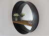 Black Metal Retro Industrial Mirror With Shelf