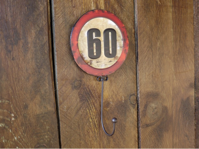 Metal Embossed  'Maximum Speed 60 mph' Road Sign Wall Hook