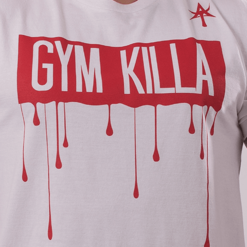 GYM  KILLA Crew Neck Tee white