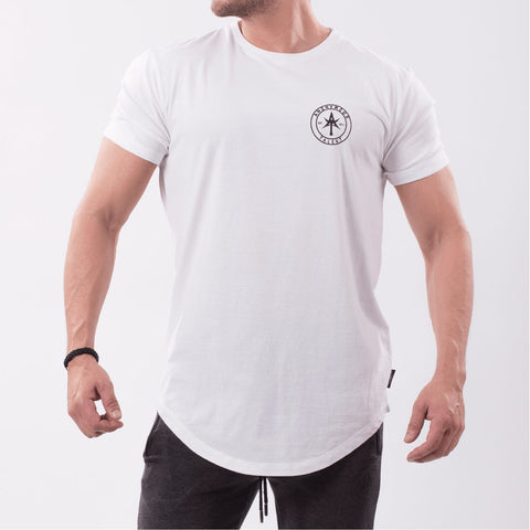 AT CIRCLE Long Lenght Curved Crew Tee White