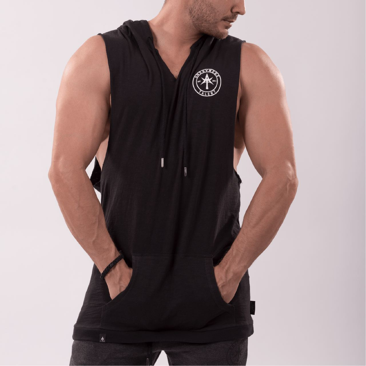AT CIRCLE Men Sleeveless Hoodie