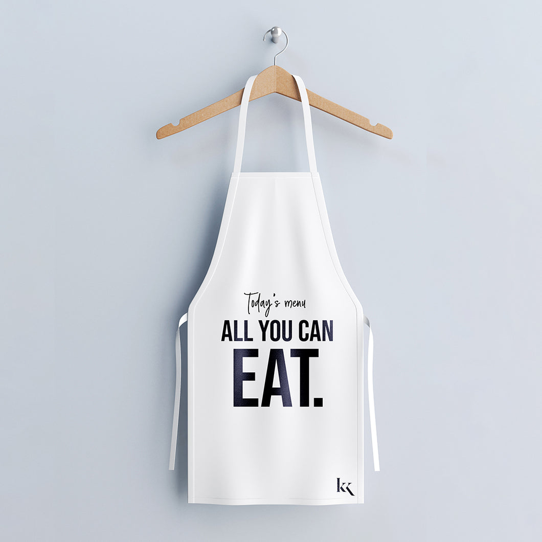 All You Can Eat Apron - Black on White