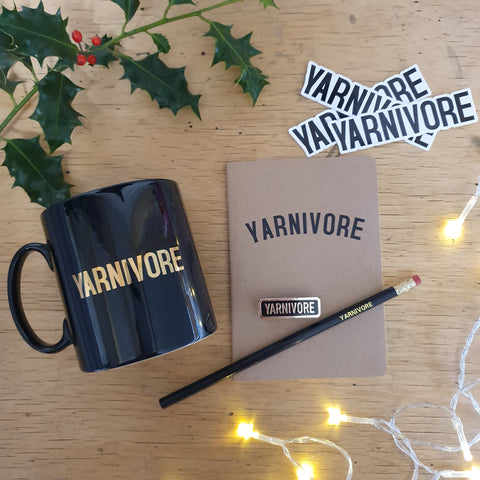 Mug, Sticker x3, Notebook, Pencil and Enamel Badge Bundle - KNITTER, CROCHETER or YARNIVORE