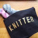 KNITTER Project Bag - Cotton Zip Up Bag