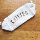 KNITTER Project Bag/Pencil Case - Cotton Zip Up Bag