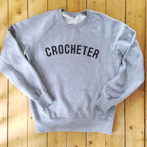 Crochet sweatshirt, printed on 100% organic cotton