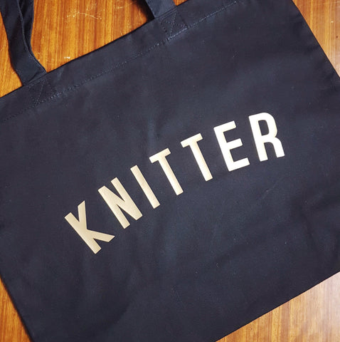 KNITTER Bag - Organic Cotton Tote Bag Black