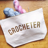 CROCHETER Project Bag - Cotton Zip Up Bag