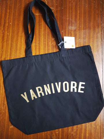 YARNIVORE Bag - Organic Cotton Tote Bag Black
