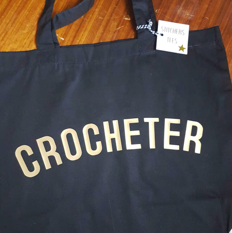 CROCHETER Bag - Organic Cotton Tote Bag Black