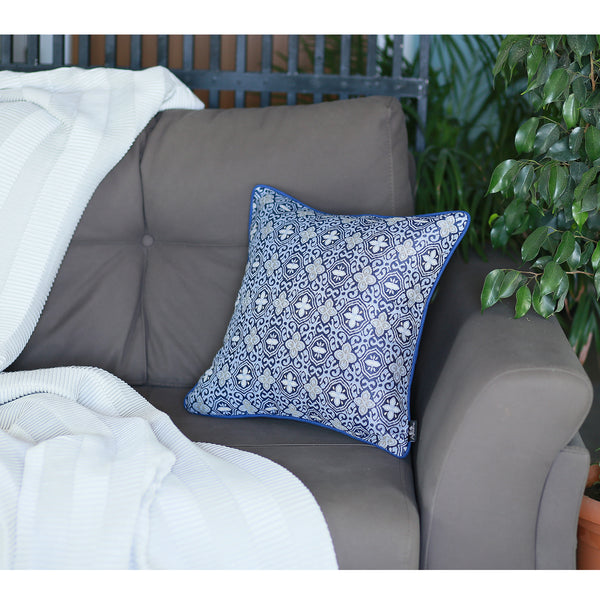 Jacquard Aristo Blue Decorative Throw Pillow Cover Home Decor 17''x 17''