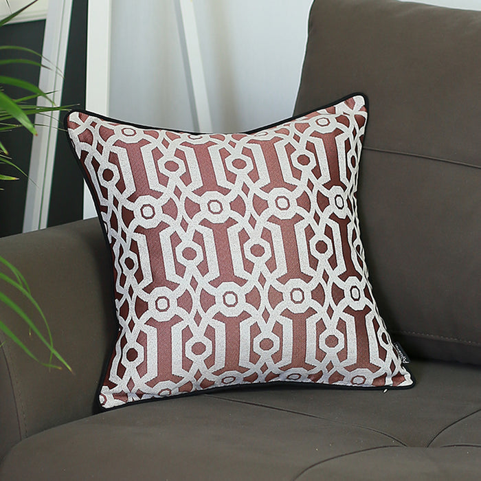 Jacquard Red Geo Decorative Throw Pillow Cover Home Decor 17''x 17''