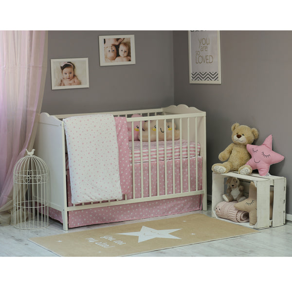 3 Piece Crib Bedding Set, Pink