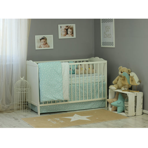 3 Piece Crib Bedding Set, Mint Green