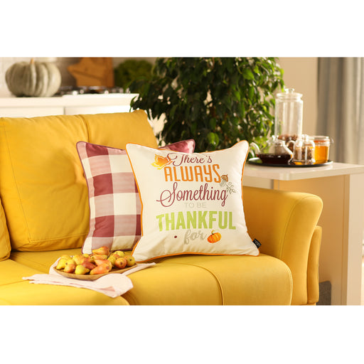 "Fall Season Thanksgiving Printed Plaid Pattern Decorative Throw Pillow Cover 18""x 18"""