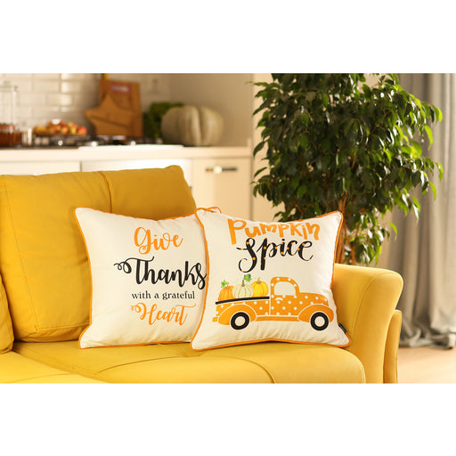 Fall Season Thanksgiving Quote Square Printed Decorative Throw Pillow Cover 18''x 18''