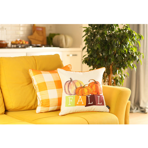 "Fall Season Thanksgiving Pumpkin Gingham Decorative Throw Pillow Cover 18""x18"" (2 pcs in set)"
