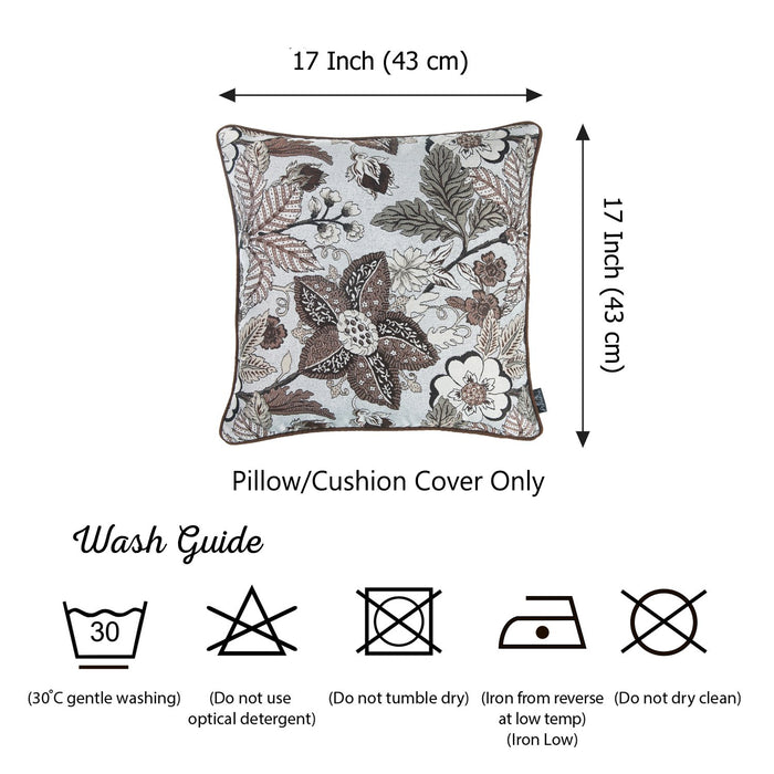 Jacquard Forest Brown Decorative Throw Pillow Cover Home 17''x 17''