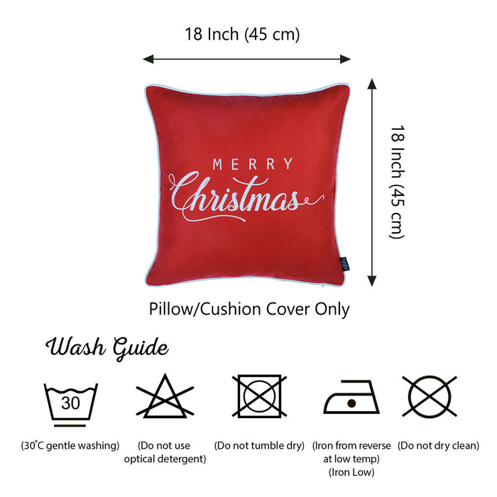 "Christmas White Quote Printed Decorative Throw Pillow Cover Home Decor 18""x18"""