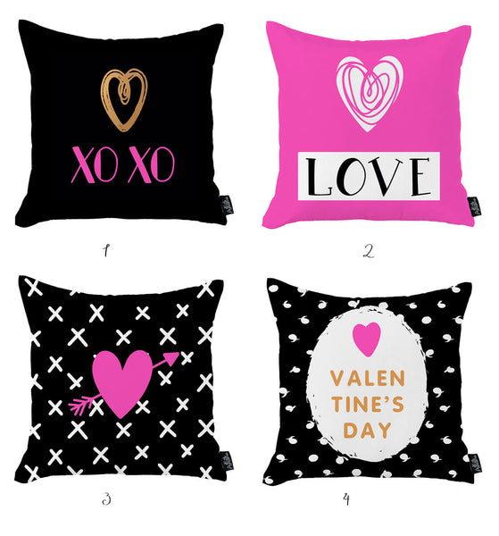 Valentine's Day XO Love Decorative Throw Pillow Cover (4 pcs in set)