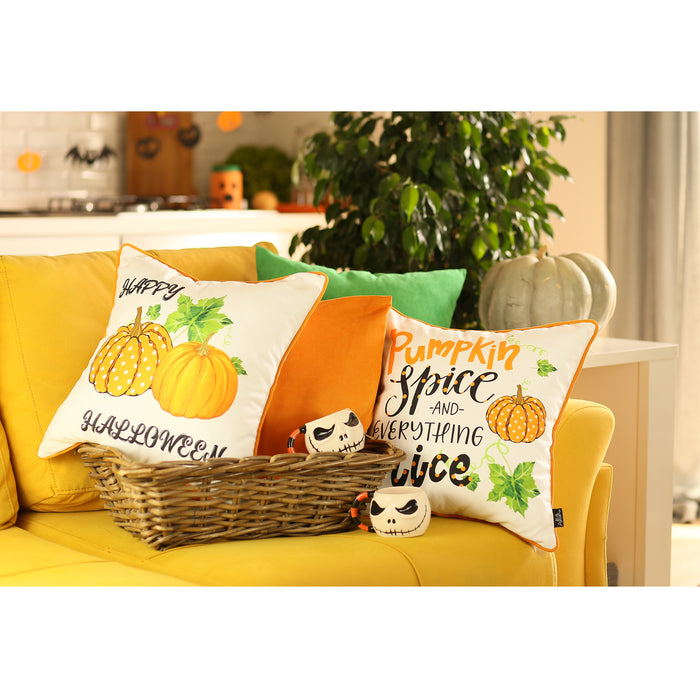 Fall Season Thanksgiving Happy Pumpkins Square Printed Decorative Throw Pillow Cover 18''x 18''