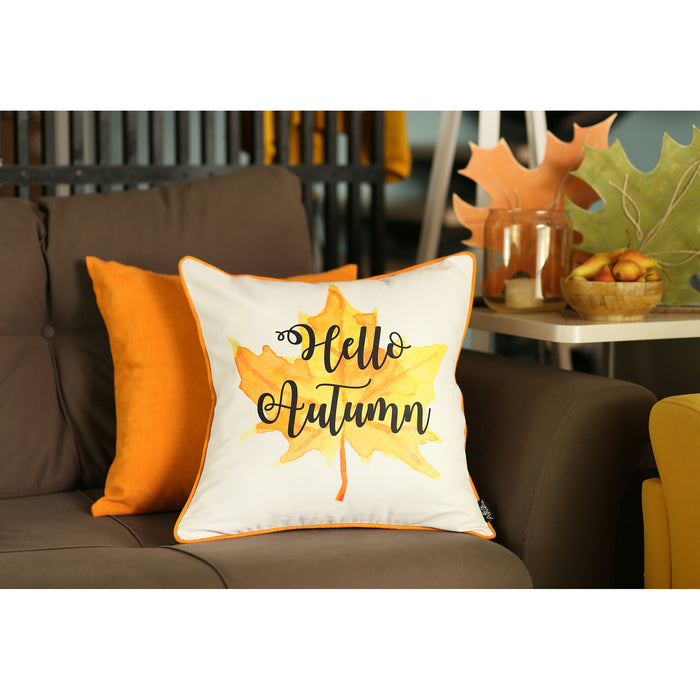 Fall Season Thanksgiving Leaf Quote Square Printed Decorative Throw Pillow Cover 18''x 18'' (2 pcs in set)