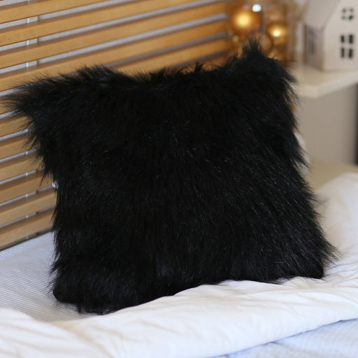 "Black Square Furry Decorative Pillow Cover Faux Fur 18""x18"""