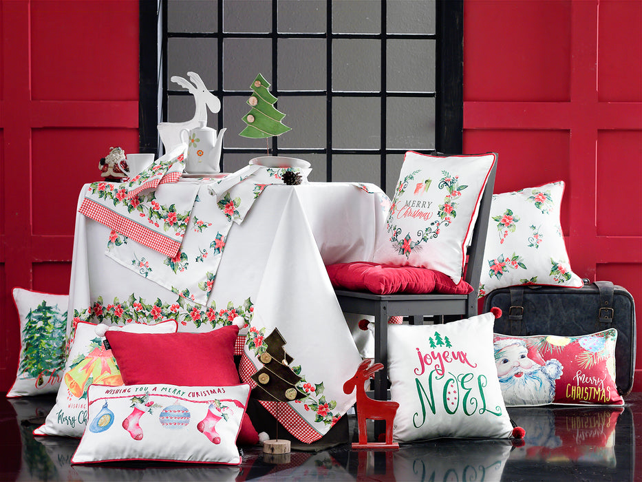 "Christmas Bells Printed Decorative Throw Pillow Cover Home Decor 18""x18"""
