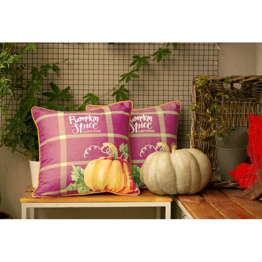 Fall Season Thanksgiving Pumpkin Spice Quote Decorative Pillowcase 18''x 18'' (2 pcs in set)