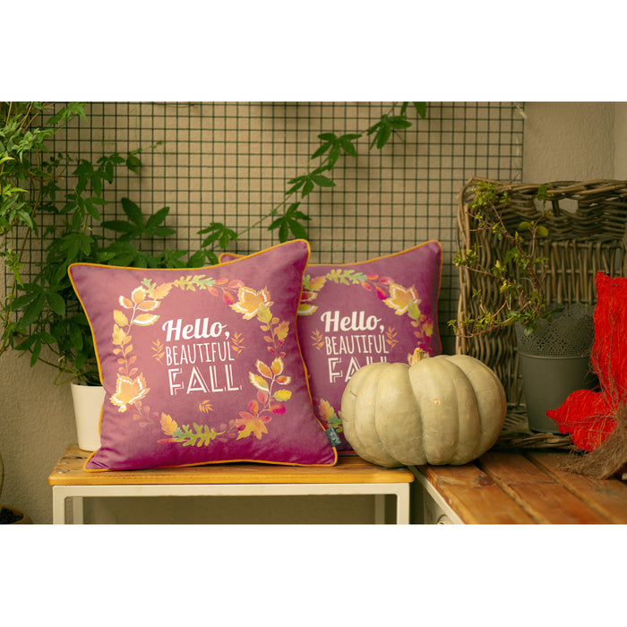 "Fall Season Thanksgiving Leaf Crown Square Printed Decorative Throw Pillow Cover 18''x 18"" (2 pcs in set)"