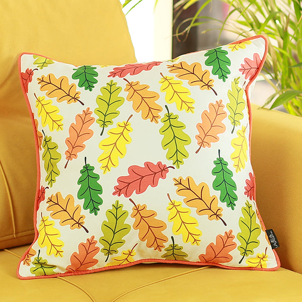 Fall Season Thanksgiving Autumn Leaves Throw Pillow Cover 18''x18''