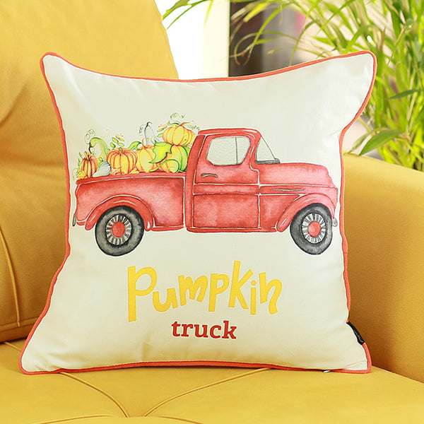 Thanksgiving Fall Season Red Pumpkin Truck Throw Pillow Cover