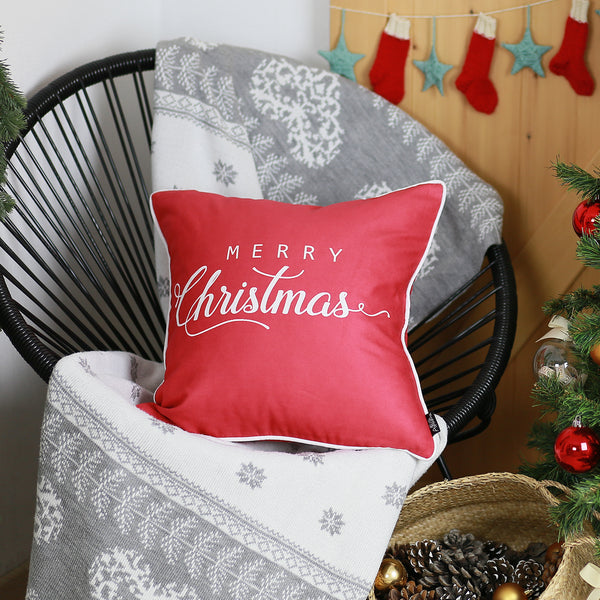 "Merry Christmas White Quote Throw Pillow Cover Christmas Gift 18""x18"""